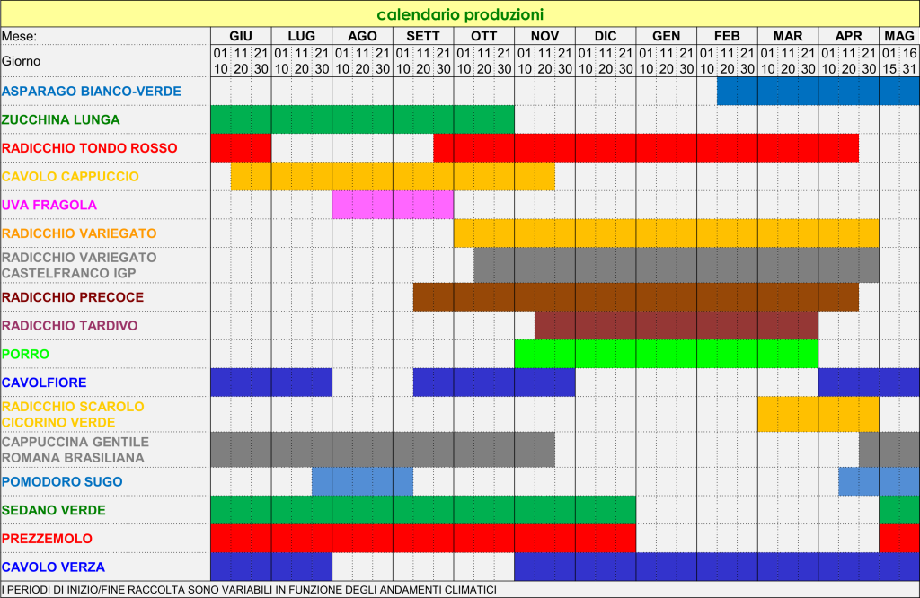 Calendario Produzioni
